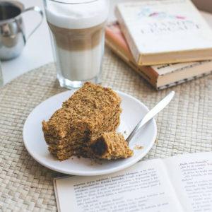 Czech Honey Cake and Coffee Latte